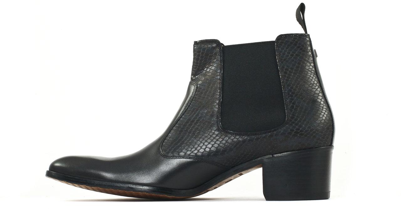 simon fournier paris black nappa grey reptil boot chelsea talon haut noir luxe chez ciao polo. Black Bedroom Furniture Sets. Home Design Ideas