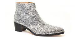 Chaussures homme hiver 20 - boots à talon haut Simon Fournier Paris Glitter Argent