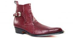 Chaussures homme hiver 20 - bottines à talon haut Simon Fournier Paris python rouge