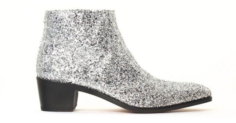 bottines et boots hommes luxe - boots à talon haut-Glitter Argent