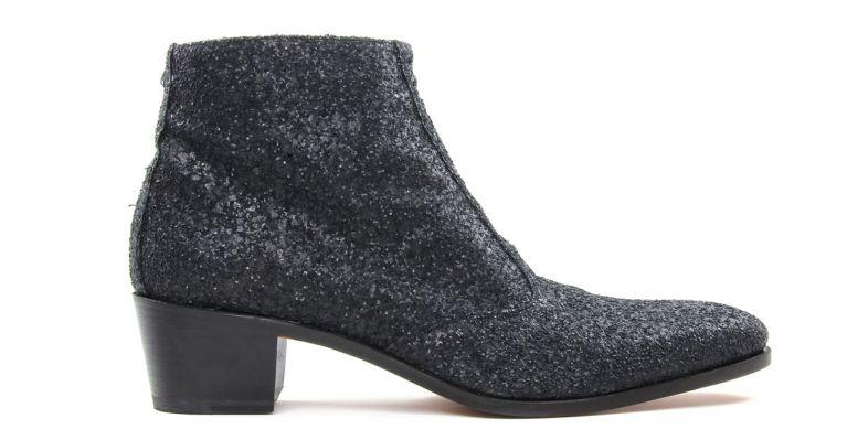 bottines et boots hommes luxe - boots à talon haut-glitter noir