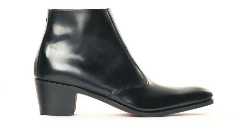 bottines et boots hommes luxe - boots à talon haut-noir