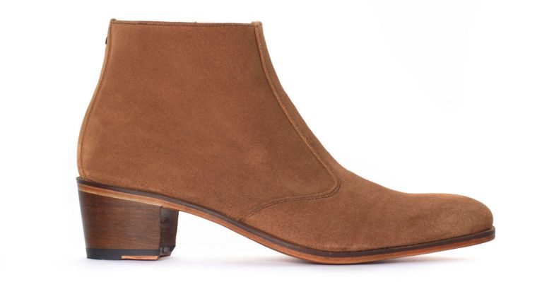 bottines et boots hommes luxe - boots à talon haut-velours beige