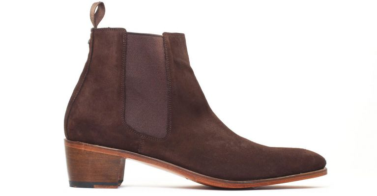 bottines et boots hommes luxe - boots chelsea talon haut-suede marron