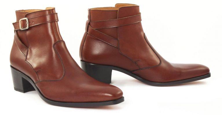 bottines et boots hommes luxe - boots Jodhpur talon haut-marron