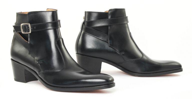 bottines et boots hommes luxe - boots Jodhpur talon haut-noir