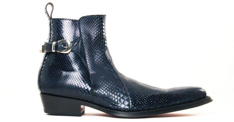 bottines et boots hommes luxe - bottines à talon haut-python bleu