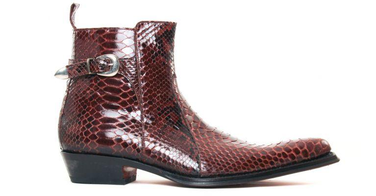 bottines et boots hommes luxe - bottines à talon haut-python marron