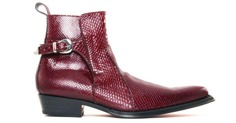 bottines et boots hommes luxe - bottines à talon haut-python rouge