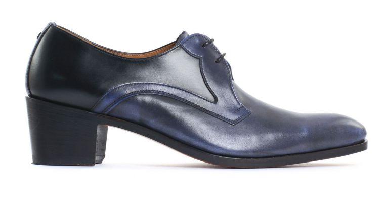 chaussures de ville hommes luxe - derby à talon haut-bleu noir