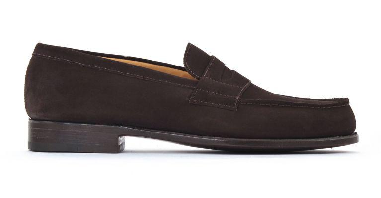 chaussures de ville hommes luxe - mocassins-nubuck marron