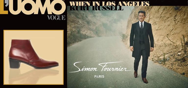 Kurt Russell porte des boots Simon Fournier Paris pour L'Uomo Vogue
